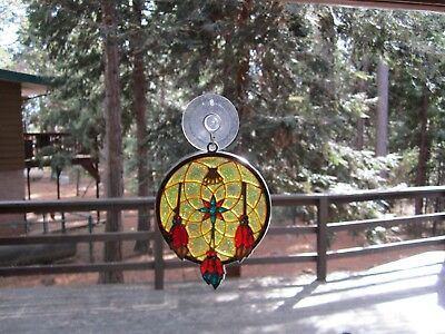 Beautiful Dreamcatcher Stained Glass Style Sun Catcher With Suction Cup