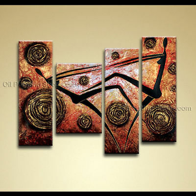 ZOPT185 4pcs modern abstract 100% hand painted wall art OIL PAINTING ON CANVAS