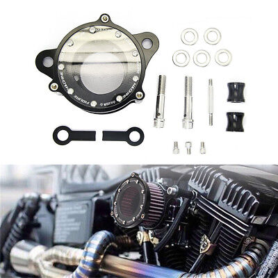 Motorcycle Air Cleaner Intake Filter System Kit Aluminum Black for Harley