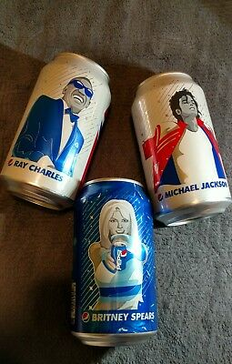 2018 Pepsi soda cans Michael Jackson Britney Spears Ray Charles set UNOPENED