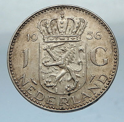 1956 NETHERLANDS Queen JULIAN 1 Gulden SILVER Coin CROWNED COAT-of-ARMS i66872
