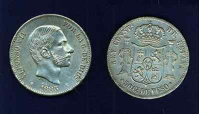 PHILIPPINES SPANISH COLONIAL  1885  50  CENTIMOS  ALMOST UNCIRCULATED to BU