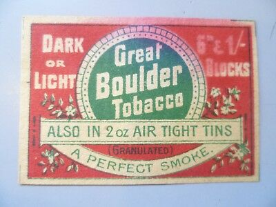Rare Vintage Matchbox Label Great Boulder Tobacco  ( Adelaide Sa)