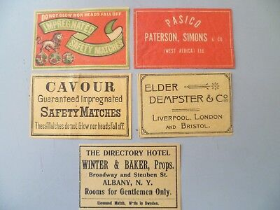 5 VINTAGE MATCHBOX LABELS CAVOUR,ELDER DEMPSTER & Co, THE DIRECTORY HOTEL