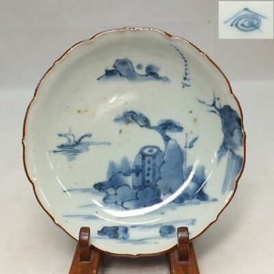 B039: Real Japanese old KO-IMARI blue-and-white porcelain plate with good tone
