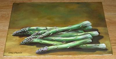 Vintage Green Asparagus Garden Vegetable Purple Tipped Sienna Calfornia Painting
