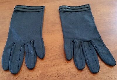 Vintage 60s BLACK Faux Leather FLEECE Lined Short Day GLOVES OSFM