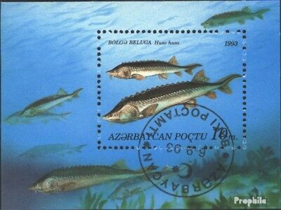 Aserbaidschan block3 (complete issue) used 1993 Fish