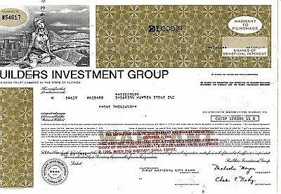 2 HWP von Builders Investment Group  vom 07.10.1974 über 1000 shares