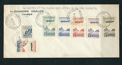 MOROCCO FRENCH 1945 REOPENING of FRENCH PO in TANGER (C27-32, 177) cover FDC