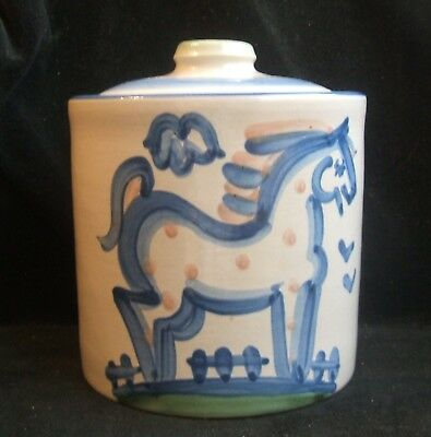 Vintage M.A. Hadley Ceramic Canister Jar with Lid Horse The End Country Scene