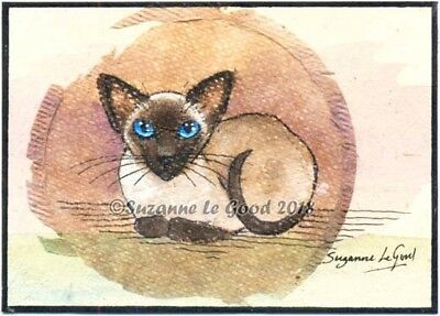 ACEO Siamese Cat art painting on teabag original handpainted ATC Suzanne Le Good