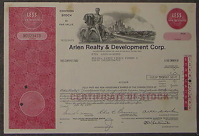 Arlen Realty & Development Corp. 1977 5 Shares