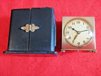 Vintage Famous Swiss Zenith, Deco Travel / Desk Alarm Clock In Leather Case, Gwo