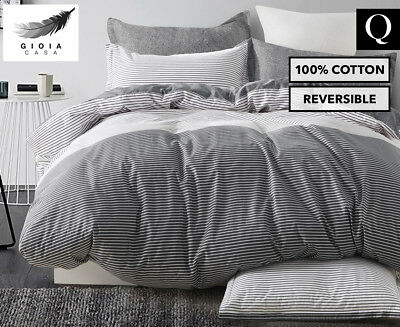 Gioia Casa Gerry Queen Bed Quilt Cover Set - Black/White