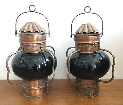 Pair of Antique Vintage Copper Ships Lamps Lanterns by Alfred Genton Blue Glass