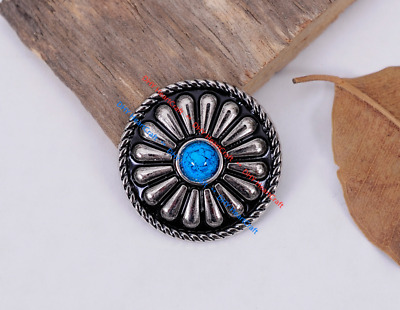 10X Navajo Blue Turquoise Silver Floral DIY Leathercraft Hobby Rosettes Concho