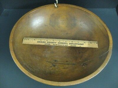 "1800s *PRIMITIVE *WOODEN Dough BOWL* X-LARGE 15.5"" Across x 4.25"" H x 1/2"" Thick"
