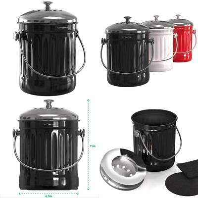 Kitchen Compost Bin Metal Stainless Steel Composter Pail Counter Under Sink  Food