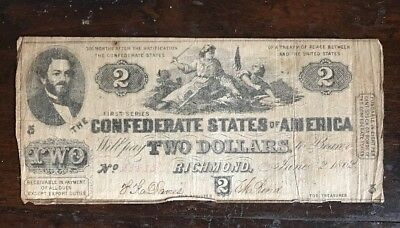 Rare 1st Edition, Civil War Money T-42 1862 $2 CONFEDERATE CURRENCY