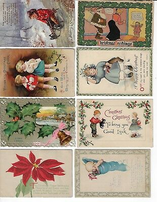 Lot of 8 Assorted Antique Merry Christmas Greeting Postcards (Lot 1/9)