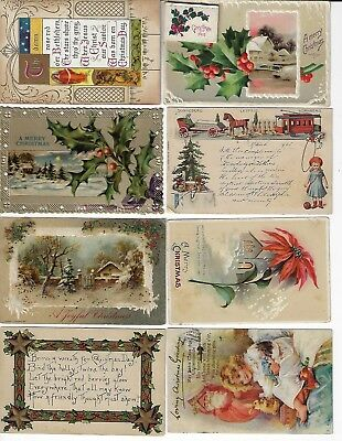 Lot of 8 Assorted Antique Merry Christmas Greeting Postcards (Lot 2/9)