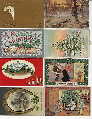 Lot of 8 Assorted Antique Merry Christmas Greeting Postcards (Lot 4/9)