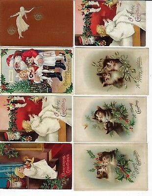 Lot of 8 Assorted Antique Merry Christmas Greeting Postcards (Lot 5/9)