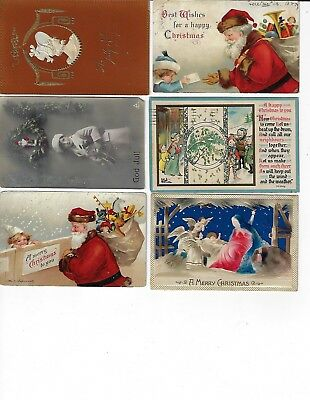 Lot of 6 Assorted Antique Merry Christmas Greeting Postcards (Lot 6/9)