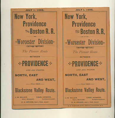 1889 New York Providence & Boston Rail Road Worcester Division Time Table Map