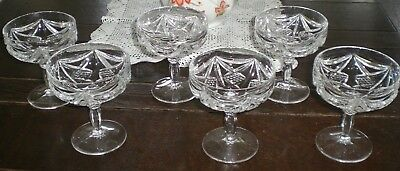 CHAMPAGNE GLASSES CRYSTAL OLD GERMANY LOT of 6