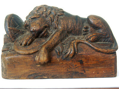 Antique Carved Wood Swiss Lion Of Lucerne Monument Atlanta Lion Of Confederacy