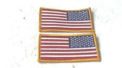 Lot of 2 PATRIOTIC AMERICAN FLAG EMBROIDERED MOTORCYCLE BIKER VEST JACKET PATCH