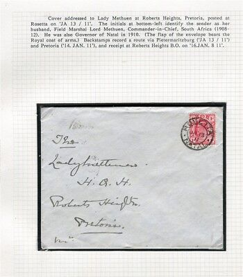 SOUTH AFRICA TRANSVAAL; 1911 LETTER/COVER from Lady Methuen Pretoria