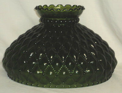"""NOS Solid Green Diamond Quilted Lamp Shade Aladdin,Rayo,Coleman 10"""" Fitter"""
