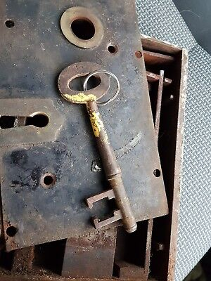 Georgian Antique Cast Iron Brass Door Rim Lock Box & Key