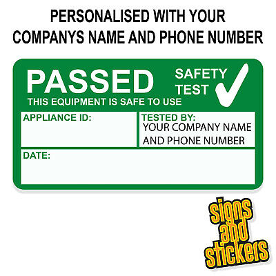 1000 PERSONALISED PAT Test Pass stickers label passed, not cheap paper ones
