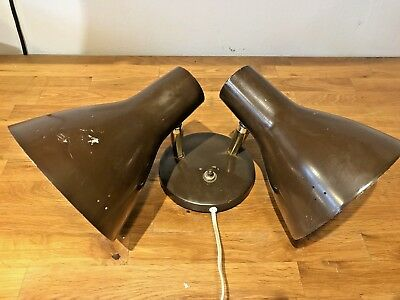 VINTAGE 1950s DOUBLE LIGHT WALL MOUNT SCONCE FIXTURE BED LAMP EAMES ERA