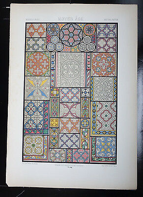 Middle Ages GRISAILLE WINDOWS Design Chromolithograph Racinet's ORNAMENT 1873
