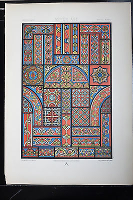 Middle Ages STAINED GLASS Design Chromolithograph Racinet's ORNAMENT 1873
