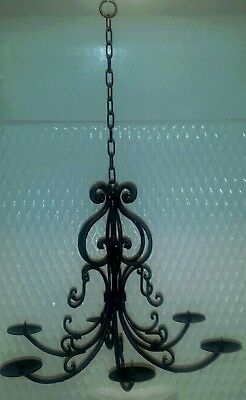 Old Vintage Wrought Iron Country French Chandelier Shabby Cottage Rustic Chic