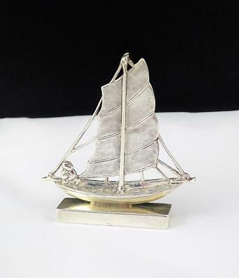 ANTIQUE EARLY 1900s LEE YEE HING CHINESE 90 SILVER BOAT SHIP JUNK MENU HOLDER