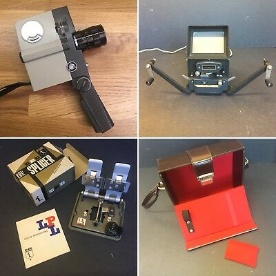 Job lot of vintage cine film camera + editor / viewer, splicer & bag - 8/16mm
