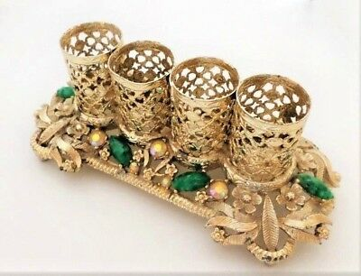 Vintage Lipstick Holder Gold Metal w/Rhinestones and Green Cabochons