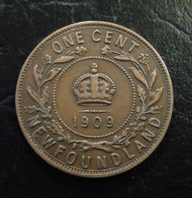 1909 Newfoundland LARGE CENT one 1 penny copper coin King Edward VII