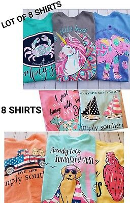 Simply Southern T shirt LOT of (8) short sleeve shirts Womens size small - NEW