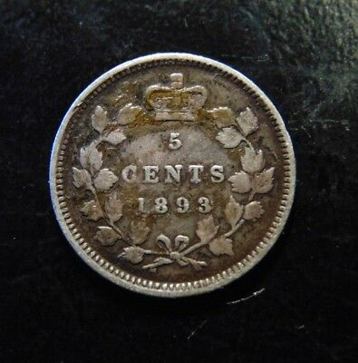 CANADA 1893 five 5 cents .925 sterling silver coin Queen Victoria