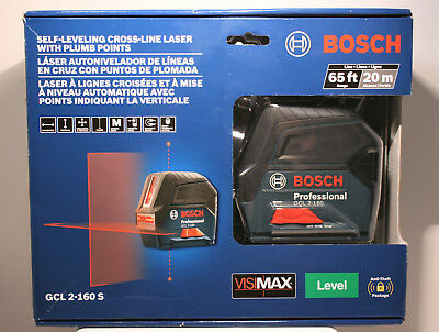 Bosch Gcl 2-160S Self-Leveling Cross-Line Laser With Plumb Points ! No Reserve !