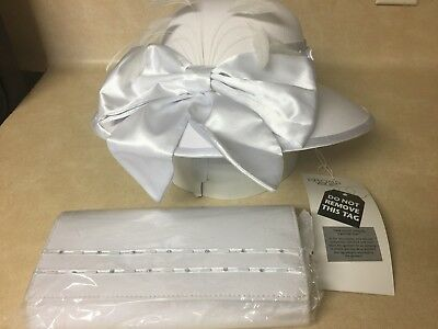 BMJ Studio Ladies Hat White w/Feathers Bow Church Wedding Fancy & Handbag Unused