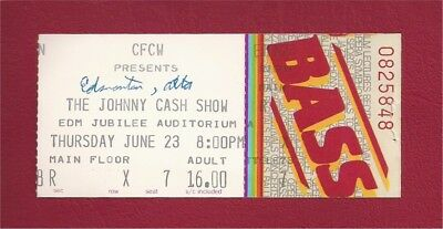 Original 1983 Johnny Cash Concert Ticket Stub - Edmonton Canada